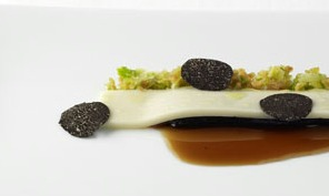 A picture shows asparagus & perigord truffles