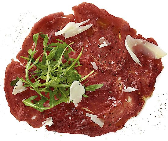 A picture shows beef carpaccio