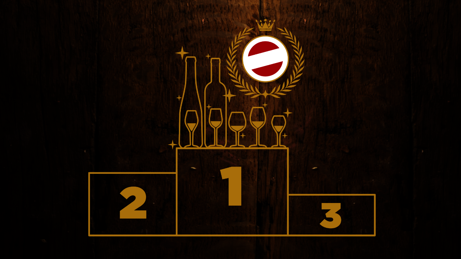 A picture shows a drawing of a winners podium with Austrian wine on the first place.