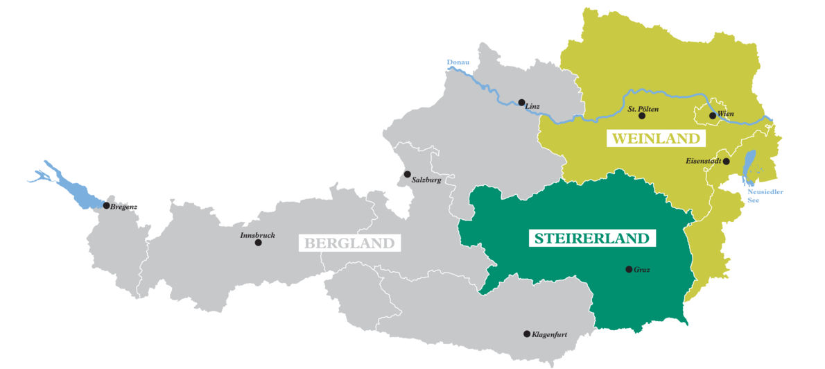 A map shows the three Austrian winegrowing areas Weinland, Steirerland and Bergland.