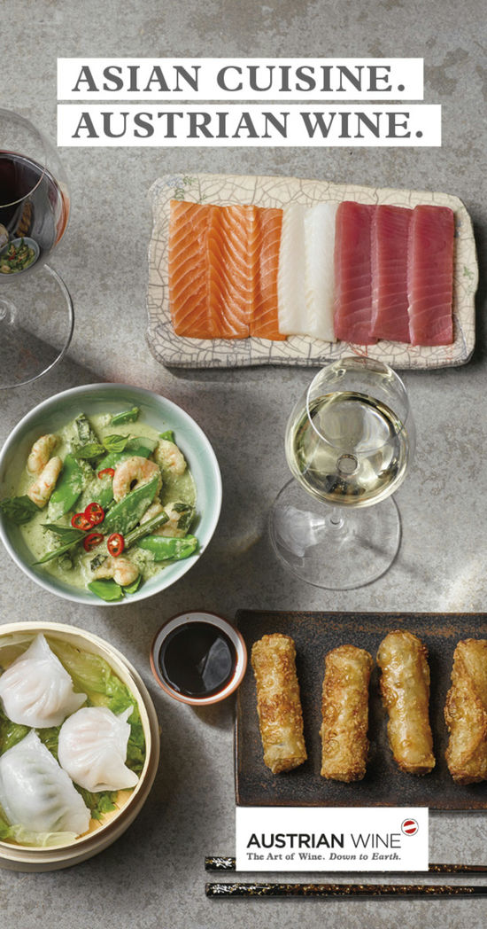 "A picture shows the cover of the brochure ""Asian Cuisine. Austrian Wine."""