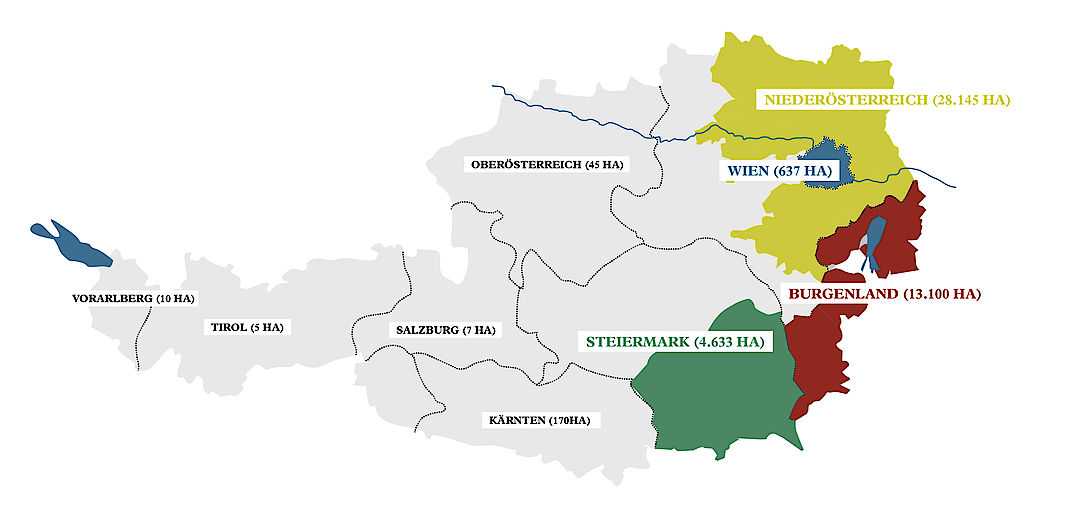 A picture shows the Generic Winegrowing regions of Austria