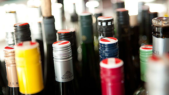 A picture shows some wine bottles