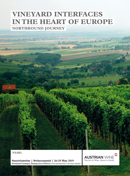 The picture shows the cover of the tasting list of the Northbound Journey, which features a picture of vineyards.