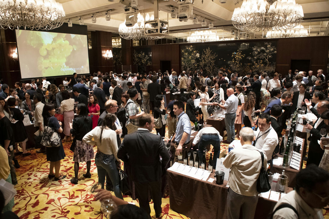 A picture shows the audience of the Austrian Tasting Tokyo in the Shangri-La Hotel, © AWMB