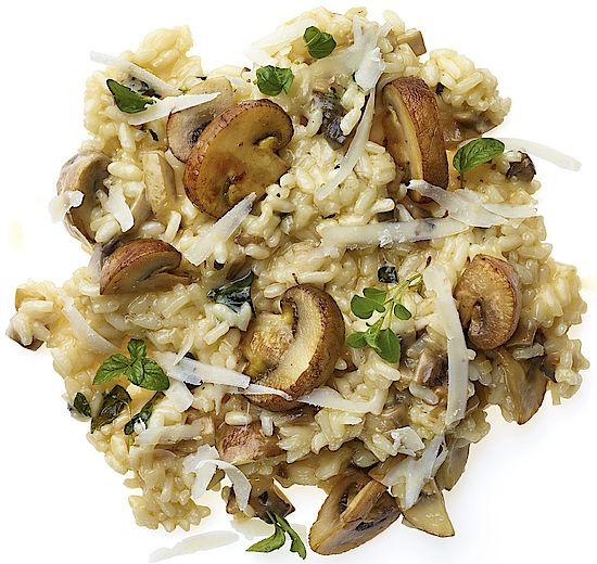 A picture shows a mushroom risotto