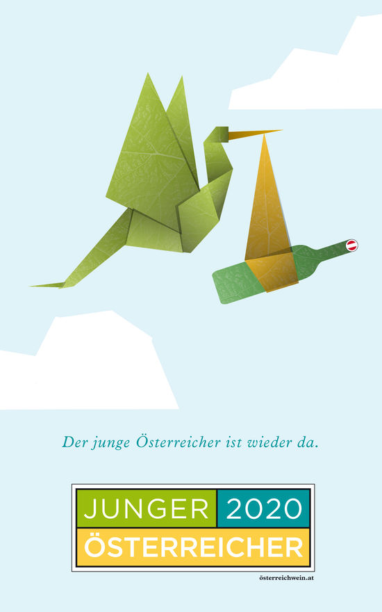 A picture shows the poste of the 2020 JÖ campaign: an origami style stork carrying a bundle with a bottle of wine.
