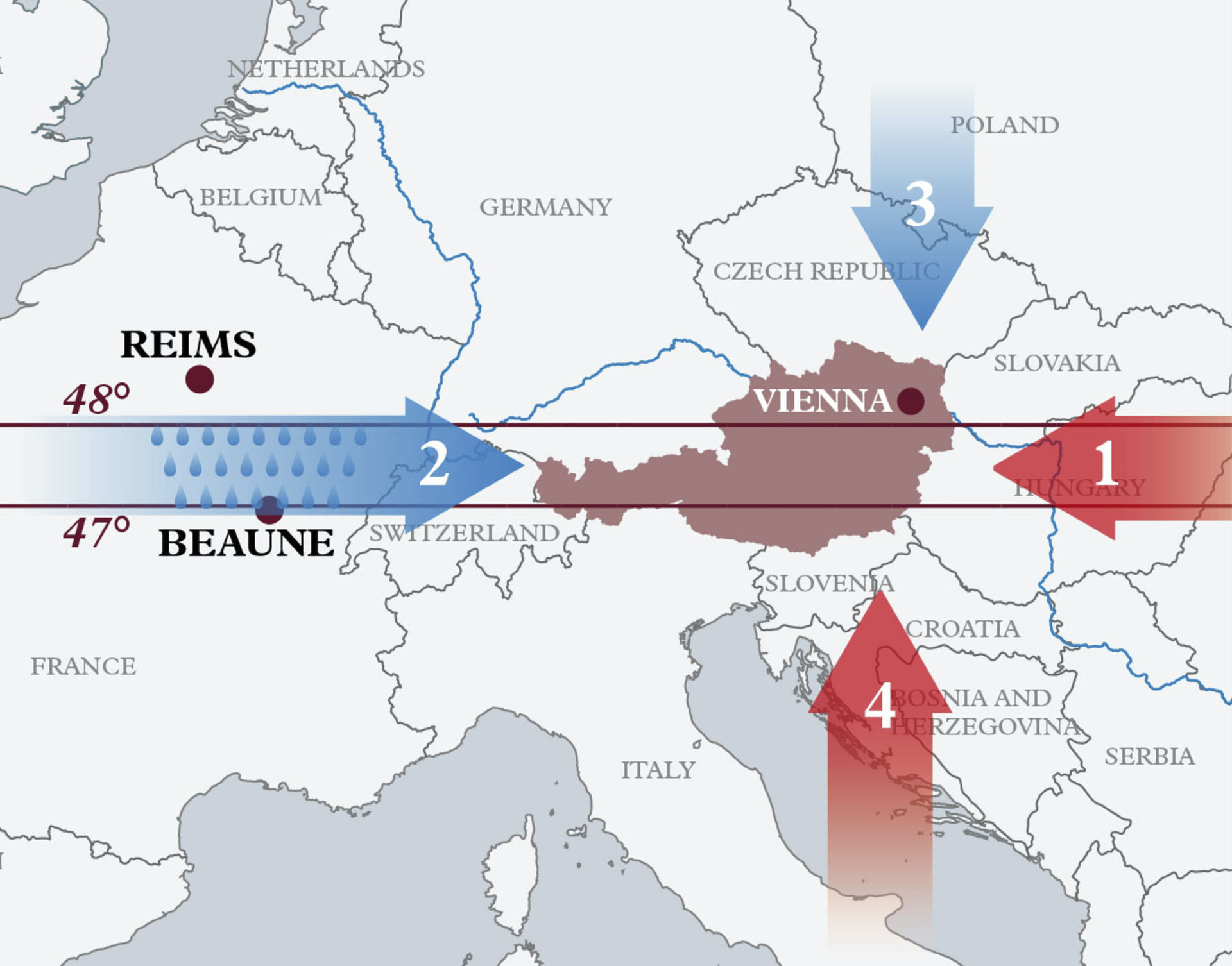 A picture shows a map of Austria with the climate influences