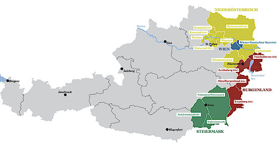 A picture shows a map of the winegrowing regions in Austria