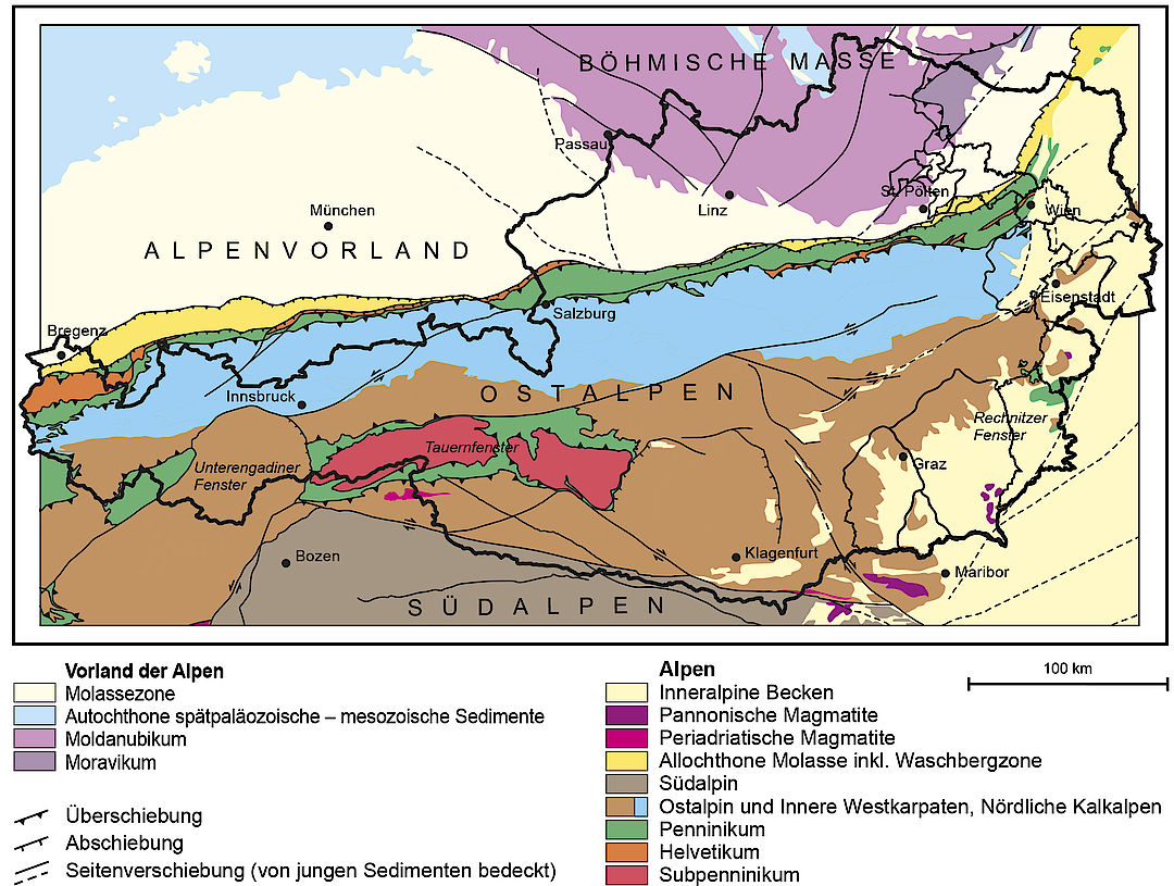 A Picture shows the geological Map of Austria