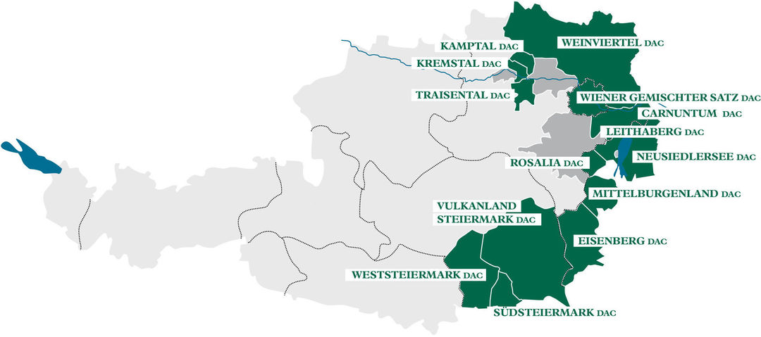 A map shows Austria's DAC winegrowing regions, © AWMB
