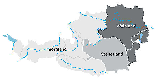 A picture shows the regions of Landwein Production