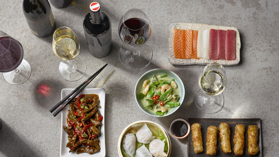 Asian food and wine