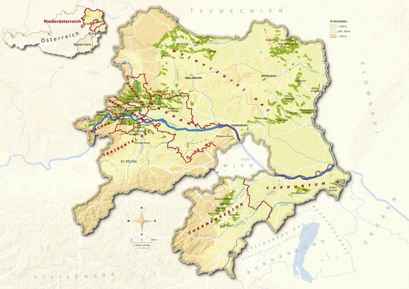 Karte Wien Niederosterreich.Maps Austrian Wine
